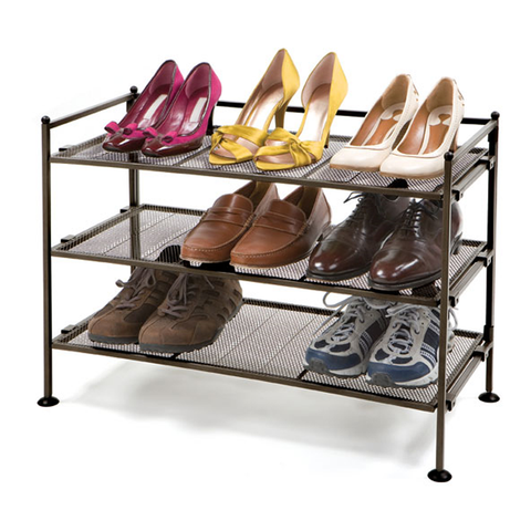 3 Tier Mesh Shoe Shelf Bronze