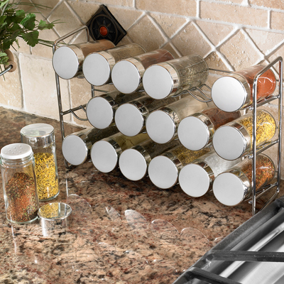 Spice Rack Chrome 18-Jar