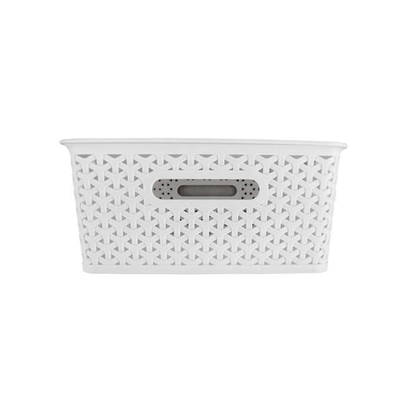 White Weave Pattern Storage Basket