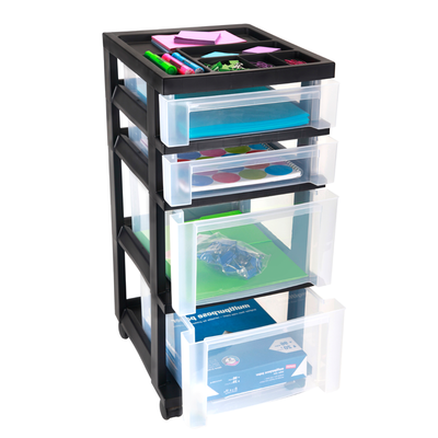 Tower 4-Drawer Black