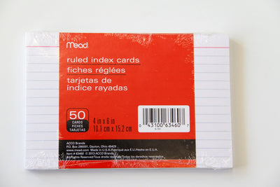 "Index Cards 4x6"" Ruled - 50Count"