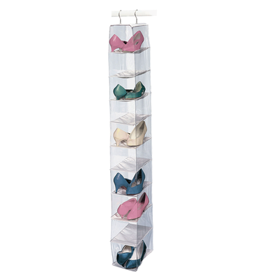 Vinyl 10 Shelf Shoe Organizer