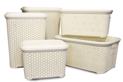 White Rattan Basket Bundle (5 Piece Set)