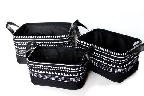 Canvas Storage Black (3 Piece Set)