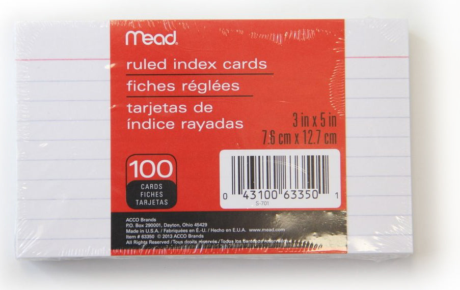 "Index Cards 3x5"" Ruled -100 Count"