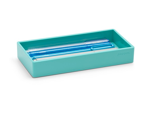 Poppin® Small Accessory Tray In Aqua