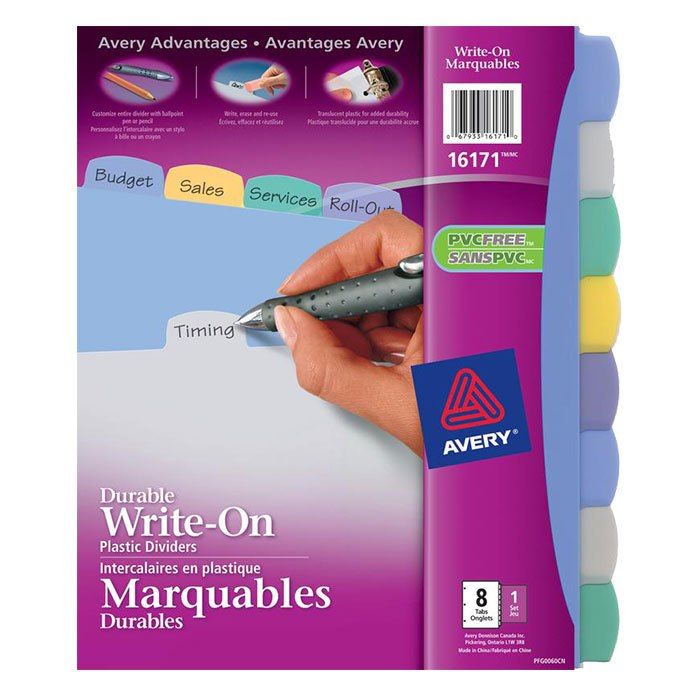 Avery Write On 8-Tab Dividers