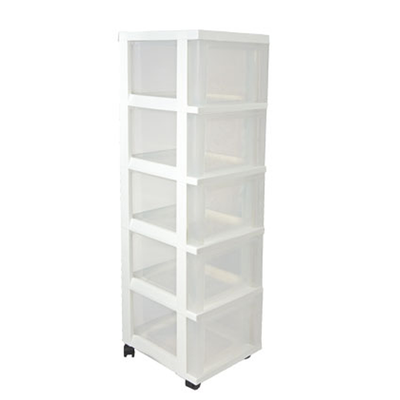 Tower 5-Drawer White