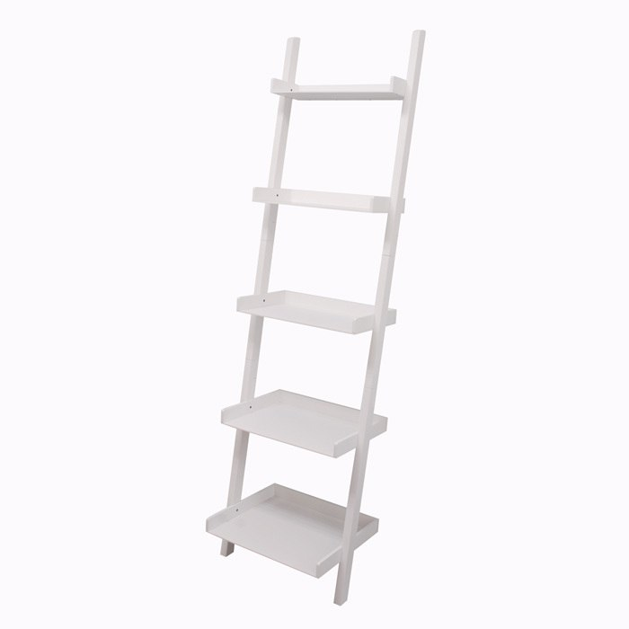 Leaning Wall Shelf 5 Tier White
