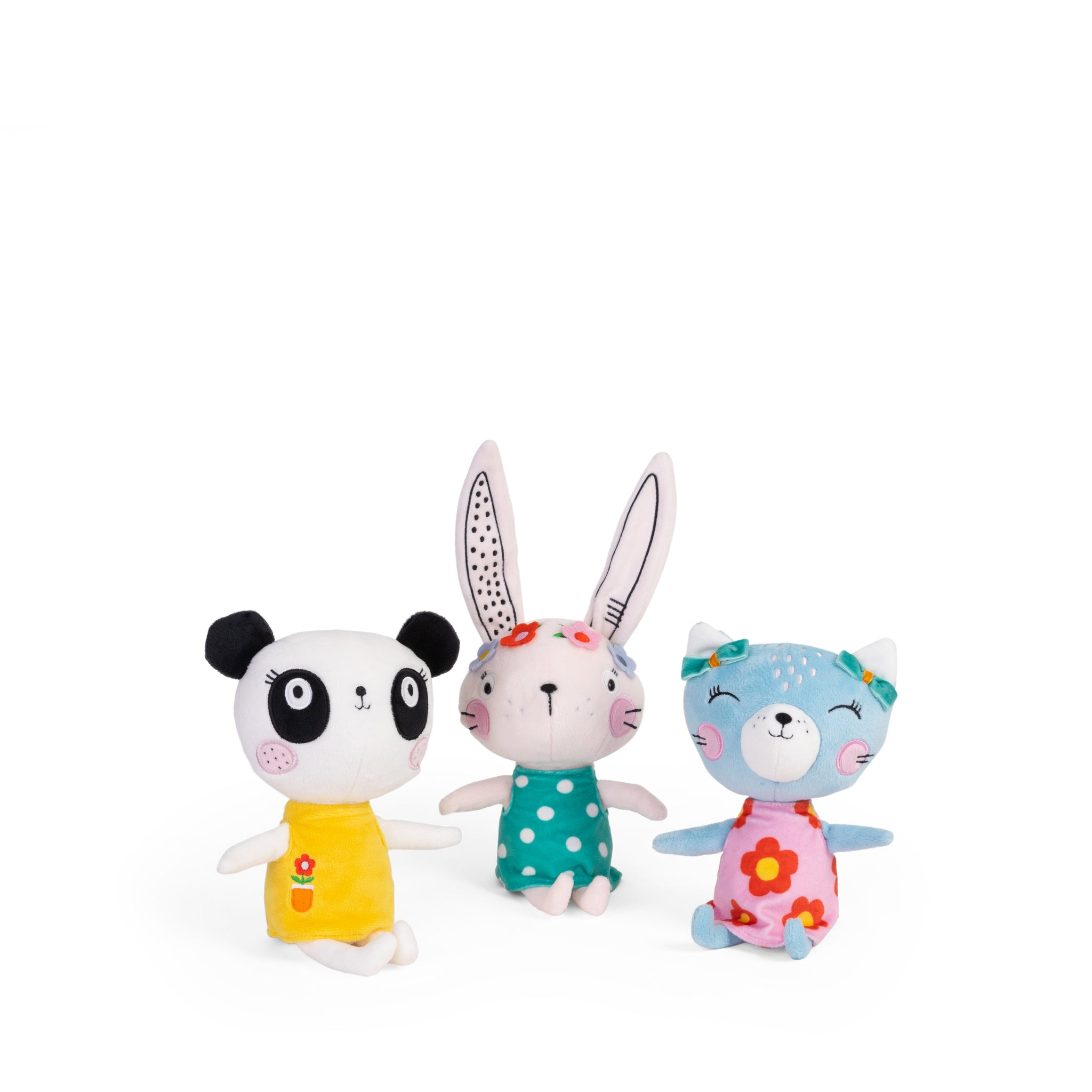 Buy Lemon Ribbon Animal Bunny, Panda and Cat Cuddly Toy Gift Set, Small Cute Girl Character Toys at shop.lemonribbon.com