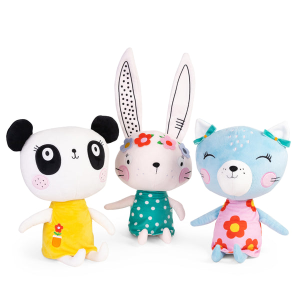 Buy Lemon Ribbon Animal Bunny, Panda and Cat Cuddly Toy Gift Set, Large Cute Girl Character Toys at shop.lemonribbon.com