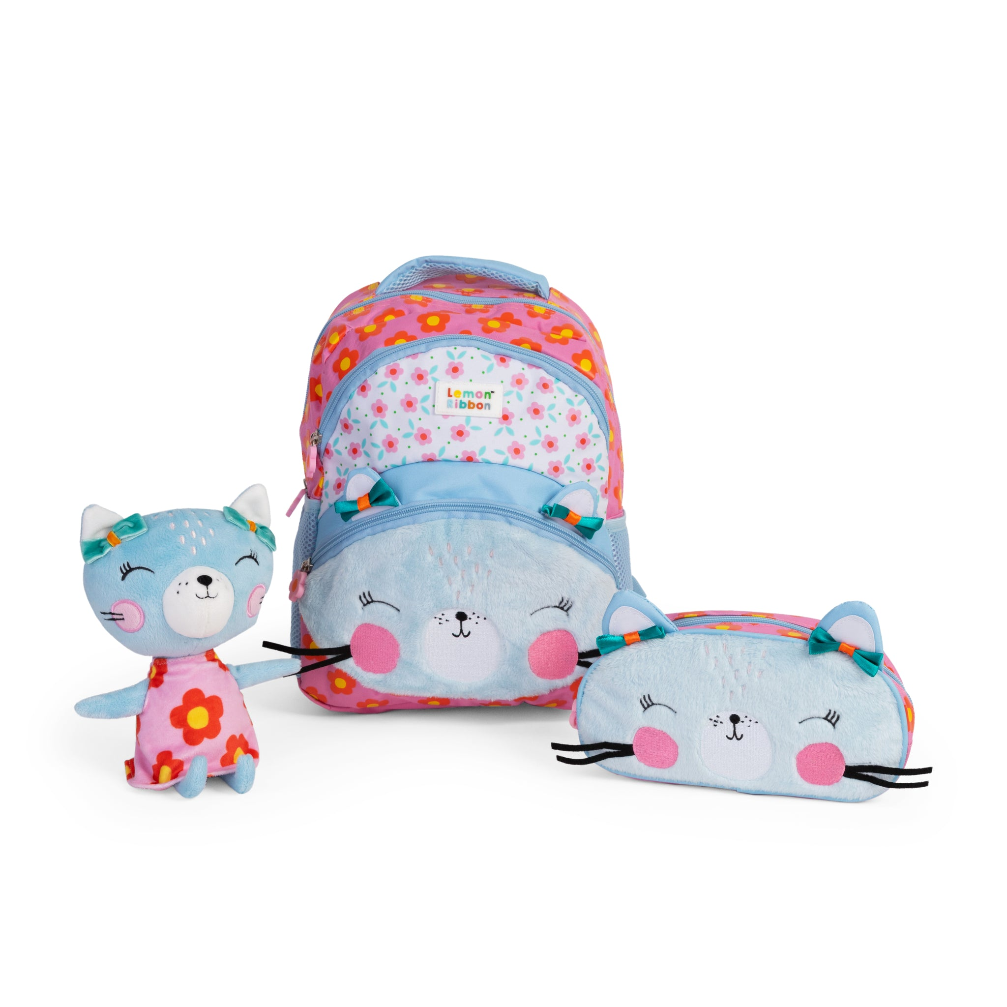 Buy Lemon Ribbon Kids' Cat Gift Set, Bundle includes Character backpack, pencil case and soft toy at shop.lemonribbon.com