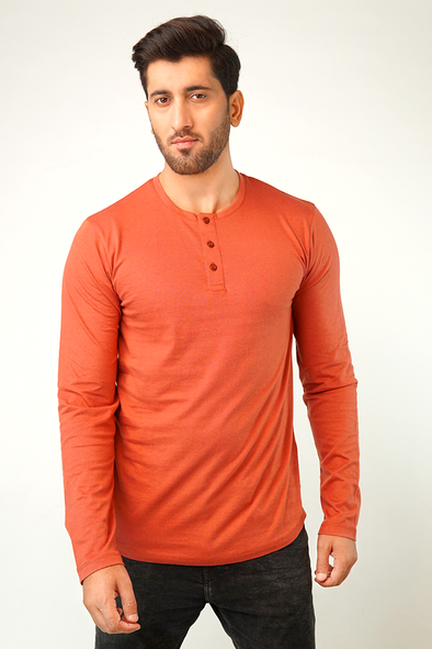 Red Ochre Full Sleeve Henley T-Shirt