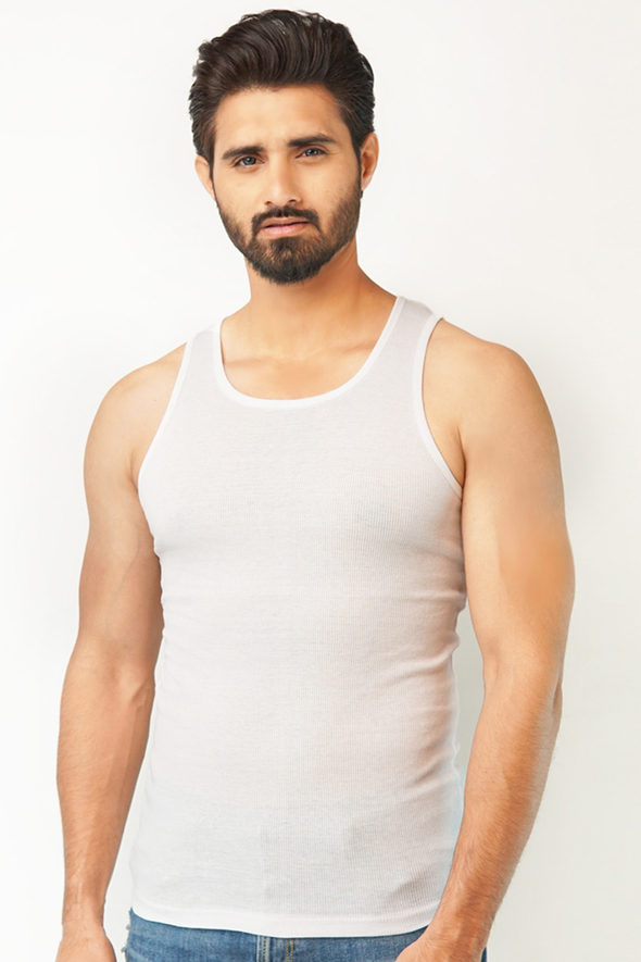 Pack of 3 Ribbed Vest - White