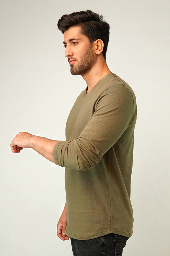 Olivery V-Neck Full Sleeve T-Shirt