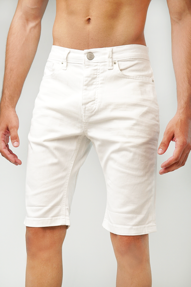 Skin Fit Denim Shorts-White