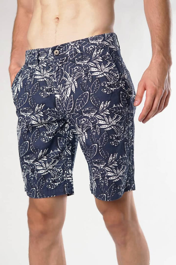 Navy Leaf Casual Shorts