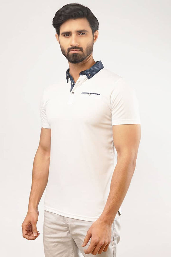 White Polka Dots Polo T-Shirt