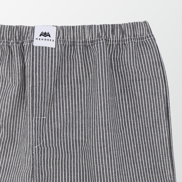 Woven Pajama Pants – Black and White Vertical Stripe