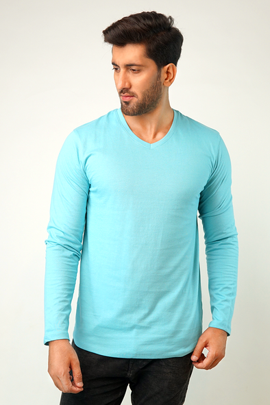 Pale Blue V-Neck Full Sleeve T-Shirt