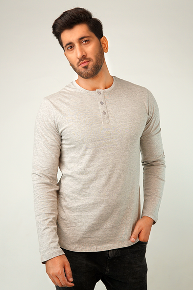 Stone Full Sleeve Henley T-Shirt