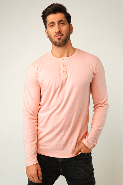 Pastel Pink Full Sleeve Henley T-Shirt