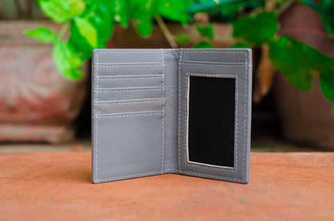 Grey Leather Wallet and card holder