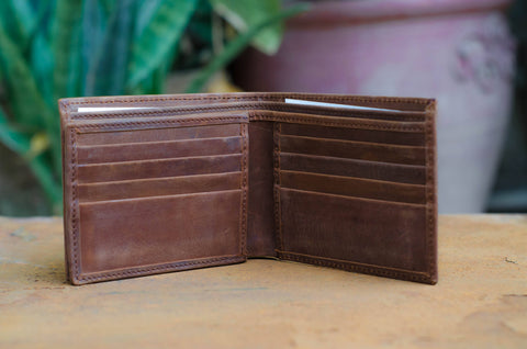 Brown Tri-Fold Horse Leather Wallet