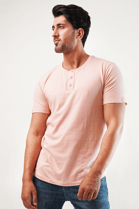 Blush Short Sleeve Henley T-Shirt - MENDEEZ (4793732431981)