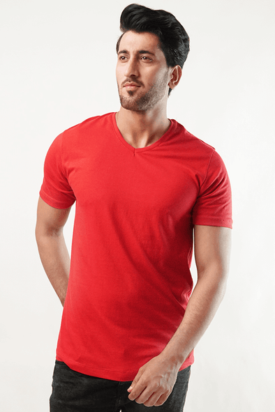 Claret V-Neck Shirt - Red - MENDEEZ (4789181055085)