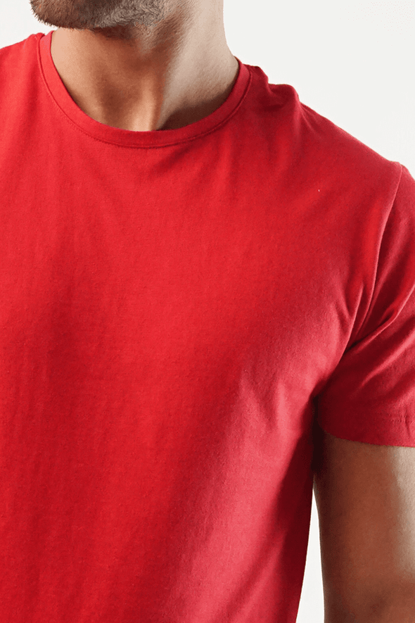 Dreich Crew Neck T-shirt - Red - MENDEEZ