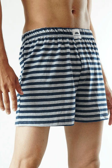 Yarn dyed Jersey Boxer Shorts - Grey (4733316169837)