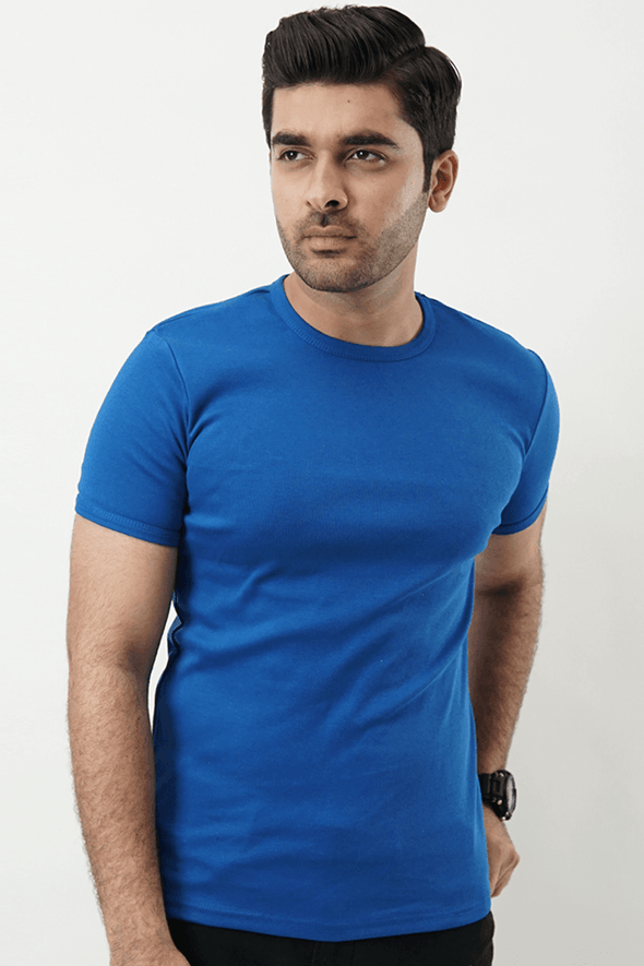 Ribbed Crewneck T-Shirt – Bold Blue - MENDEEZ