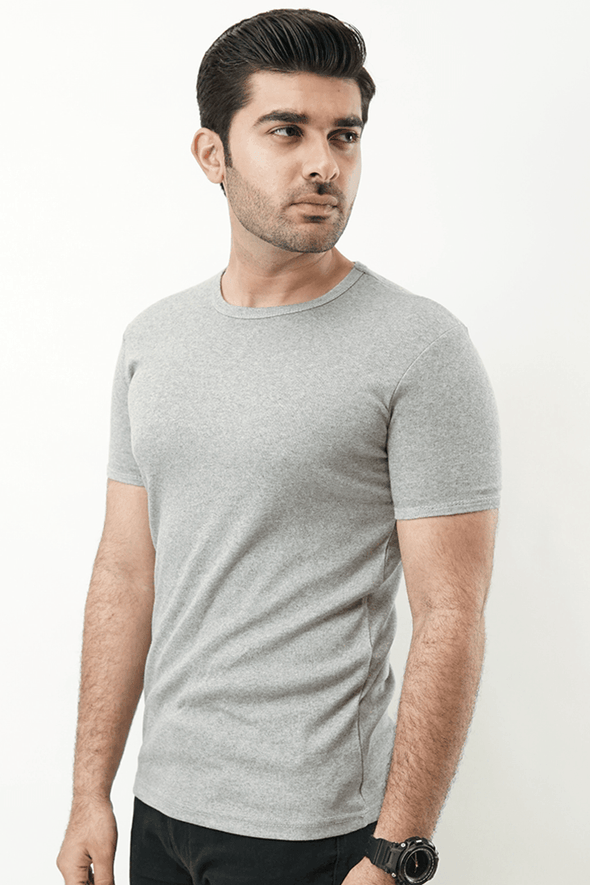 Ribbed Crewneck T-Shirt – Heather Grey - MENDEEZ
