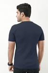 Ribbed Crewneck T-Shirt – Navy Blue - MENDEEZ (4737905557613)