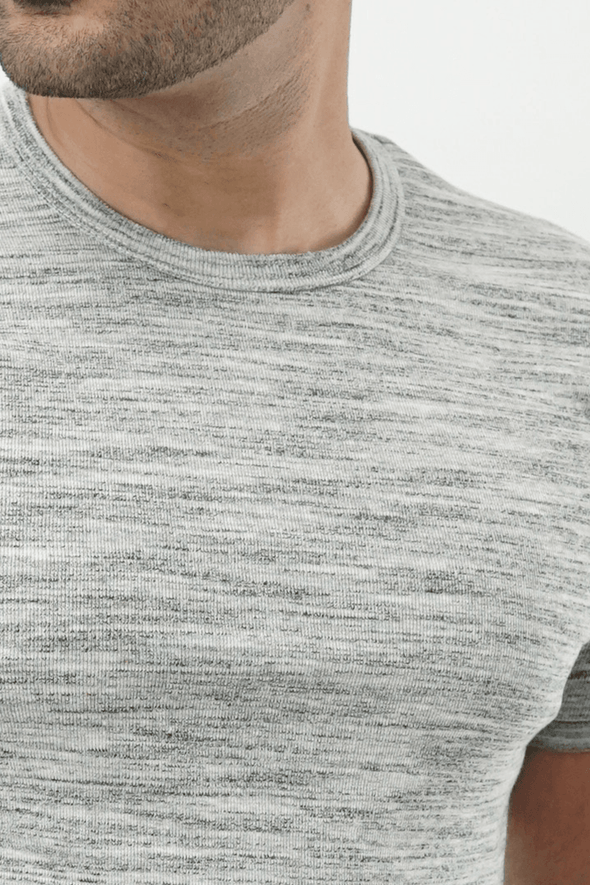 Ribbed Crewneck T-Shirt – Textured Heather Grey - MENDEEZ (4528417833069)