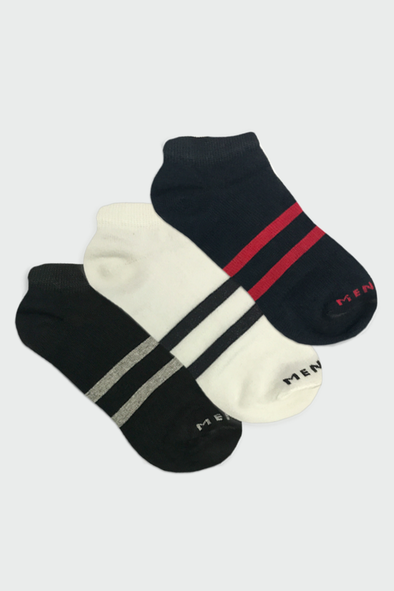 Double Striped Ankle Socks - Pack of 3