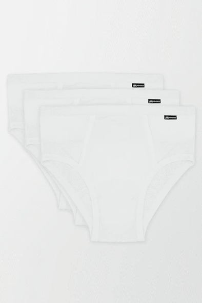 White Cotton Brief - Pack of 3 - MENDEEZ (1676609519725)