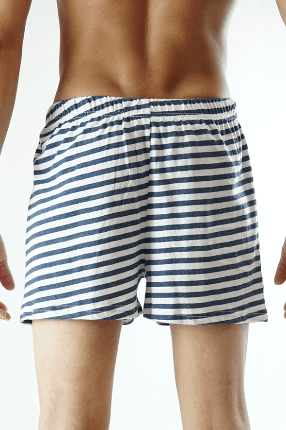 Yarn dyed Jersey Boxer Shorts - White - MENDEEZ