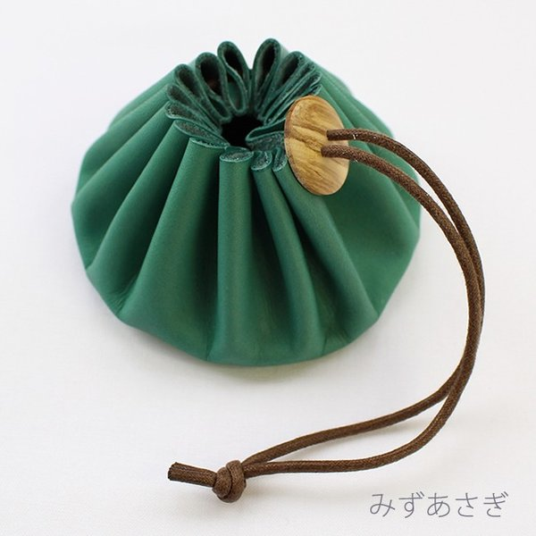 Himeji Leather green Pouch for Sewing Tools