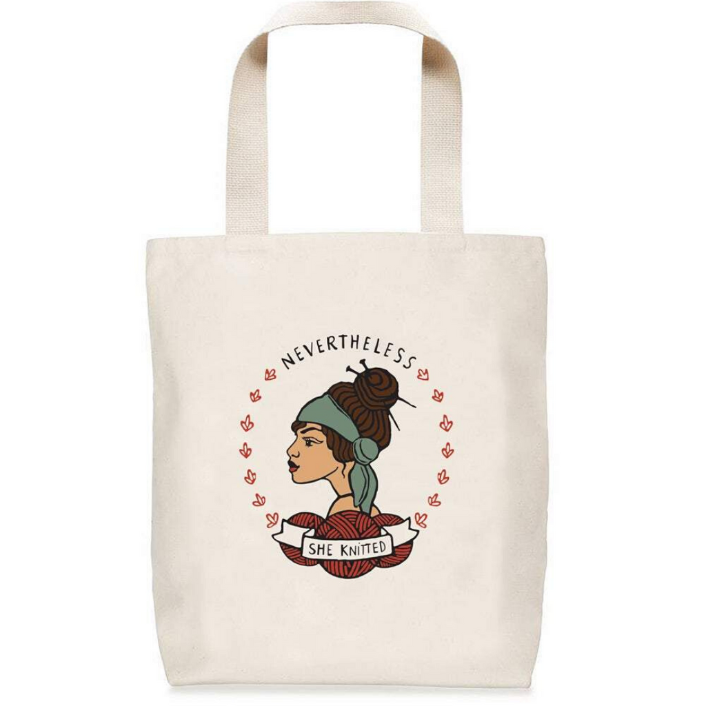 Nevertheless She Knitted Tote by Nerd Bird Markery
