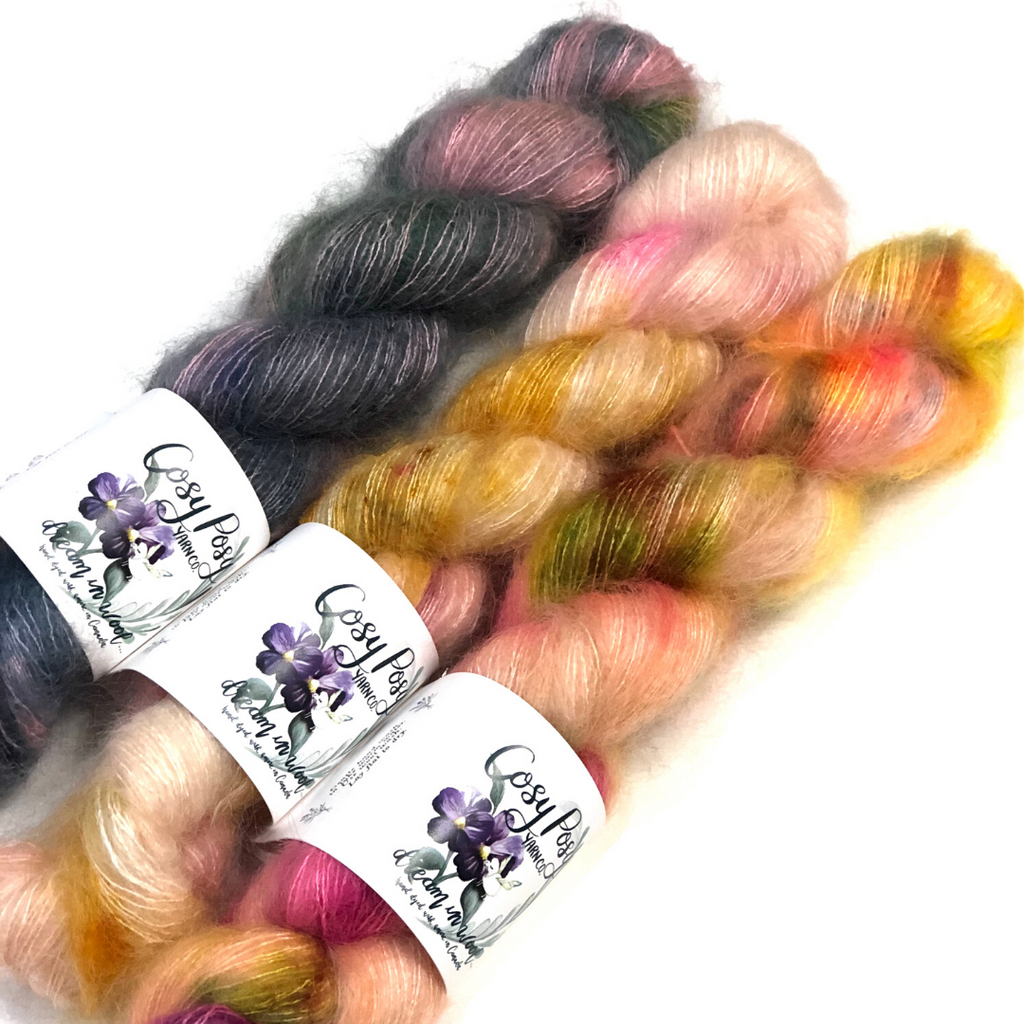Cosy Posy Floof - Hand-dyed Mohair-Silk Lace Yarn