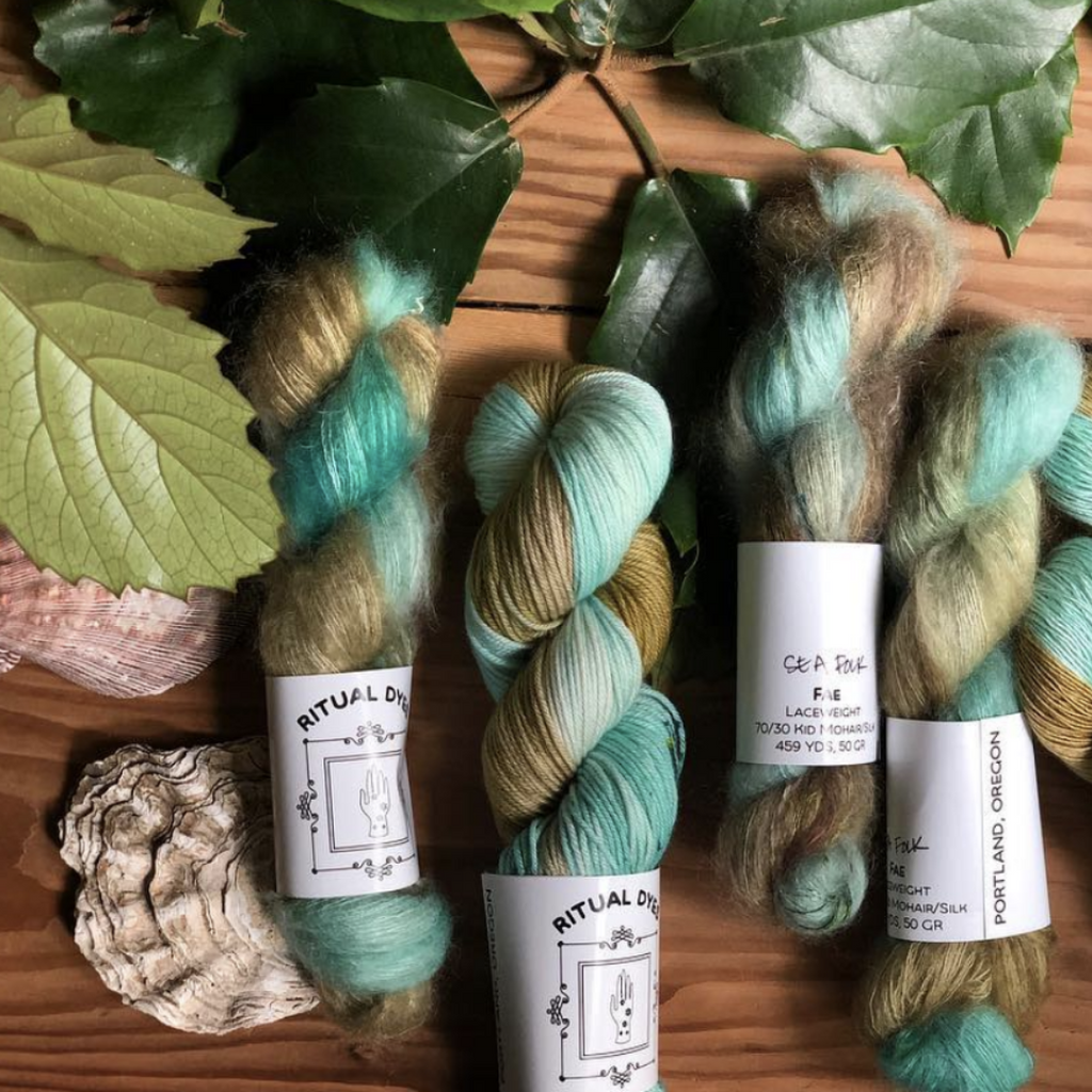 Ritual Dyes Fae Yarn with Superfine Kid Mohair-Silk wool blend