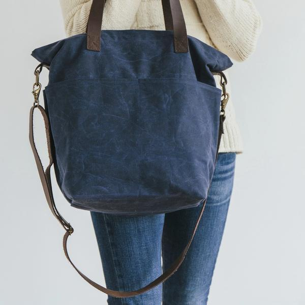 Waxed Canvas Crossbody Tote by Twig & Horn