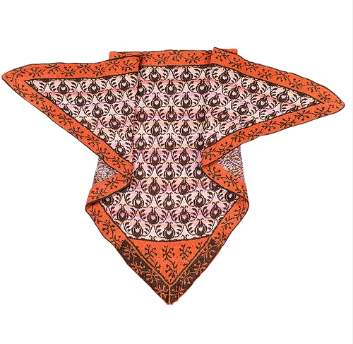Roses & Thornes Shawl - Orange/Brown