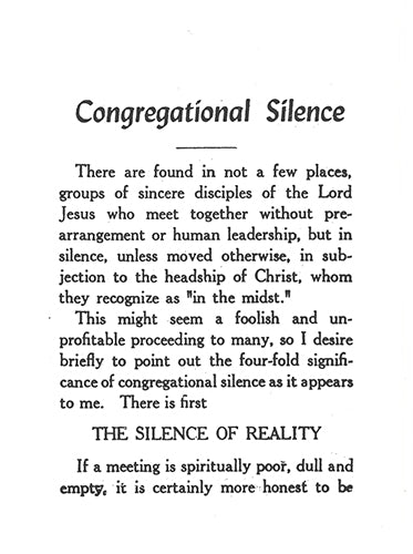 Tract: Congregational Silence