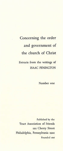 Tract: Concerning the order and government of the church of Christ