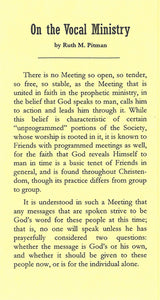 Tract: On the Vocal Ministry