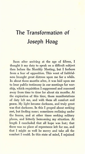 Tract: The Transformation of Joseph Hoag