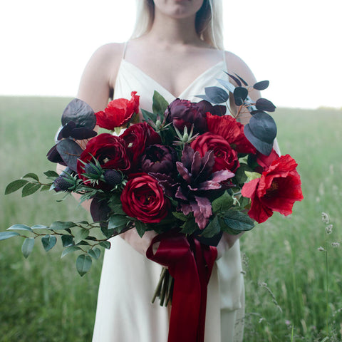 Crimson bridal bouquet